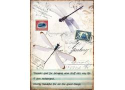 邮票邮戳蜻蜓装饰画图片