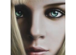 大眼睛女孩油画写生图片