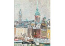 城市风景油画艺术图片