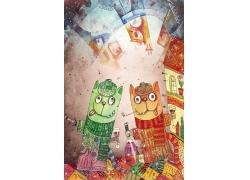 卡通猫咪抽象画图片