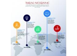 世界地图彩色圆形信息图表