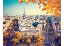 秋天树叶与埃菲尔铁塔