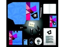 蓝色三角形背景VI设计