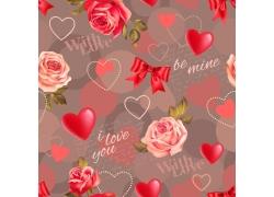 蝴蝶结爱心玫瑰无缝背景