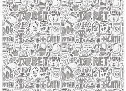 手绘动物插画背景图片