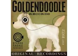 听音乐的卡通小狗图片