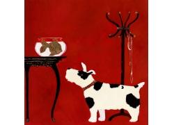 卡通小狗与鱼缸图片