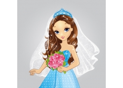 拿着花束的卡通新娘图片