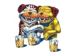 高兴喝酒的卡通小狗图片