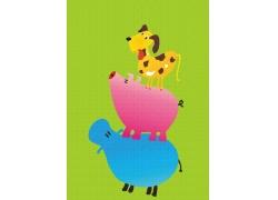 重叠的卡通动物图片