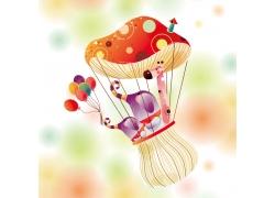 创意卡通蘑菇与卡通动物图片
