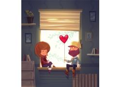坐在窗台上的卡通情侣图片
