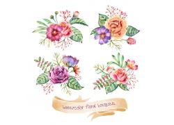 美丽植物花朵丝带