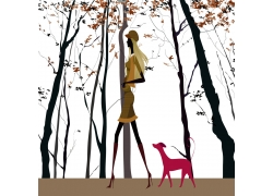 遛狗的时尚美女插画图片