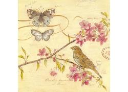 蝴蝶小鸟邮戳油画图片