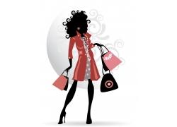 时尚购物女性插画图片