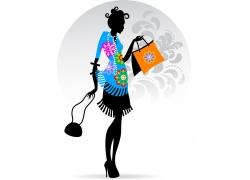 时尚潮流购物女性插画图片