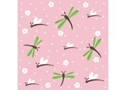 卡通蜻蜓花朵无缝背景