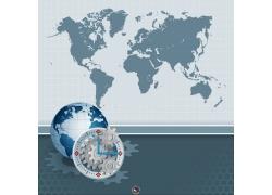 世界地图与地球时间钟表
