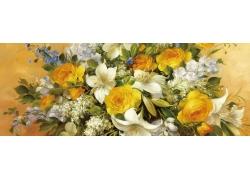 油画花朵无框画