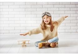 小女孩飞行员图片