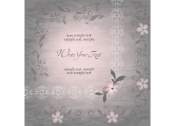粉色花朵花边婚礼贺卡