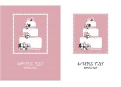 粉色花朵蛋糕婚礼贺卡