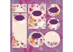 紫色艳丽花朵婚礼贺卡