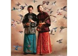 清朝女人蜂鸟油画