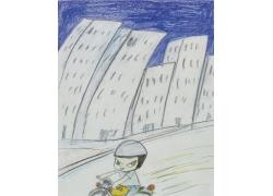 骑摩托车的卡通女孩漫画图片