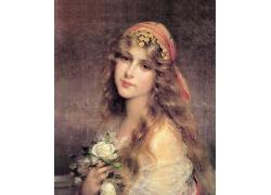拿着鲜花的欧洲美女油画