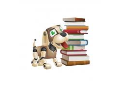 卡通小狗机器人与书本图片