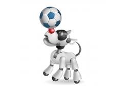 顶着足球的卡通小狗图片
