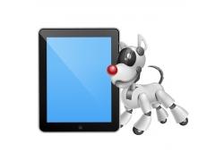 卡通小狗机器人与平板电脑图片