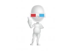 戴3D眼镜的卡通小人