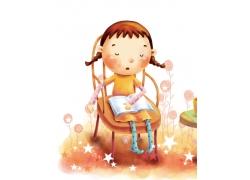 看书的卡通女孩油画图片