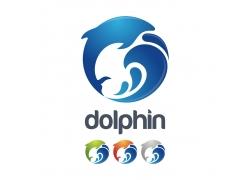 海浪海豚logo设计