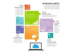 彩色商务笔记本电脑信息图表
