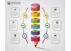 彩色拼图铅笔信息图表