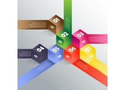 彩色立体方块信息图表