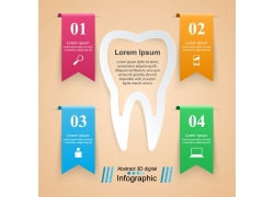 彩色标签牙齿信息图表