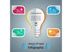 彩色标签灯炮信息图表