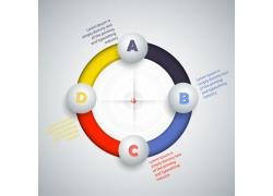 彩色立体球形圆环信息图表