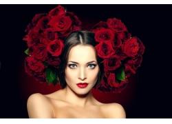 头戴玫瑰花的性感红唇美女