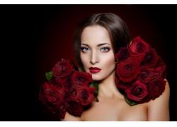 玫瑰花红唇美女