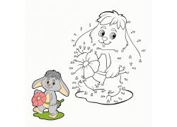 拿着花朵的卡通兔子图片