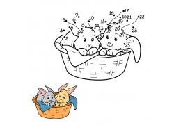 篮子里的兔子简笔画图片