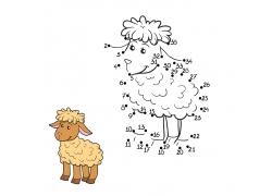 卡通羊涂色画图片