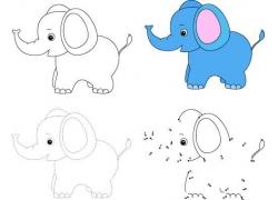 卡通大象填色画图片