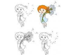 抱着蒲公英的卡通女孩简笔画图片